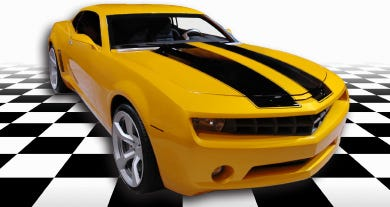 smaller yellow and black race car