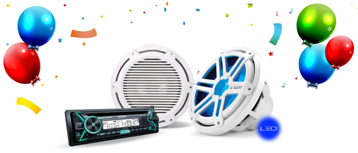 Speakers, Subwoofers and Amplifiers Marine BirthdayBash Sale